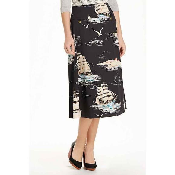 5b37c86086 Anthropologie Dresses & Skirts - Anthro Leifnotes Sail Away Nautical Ship  Skirt 12